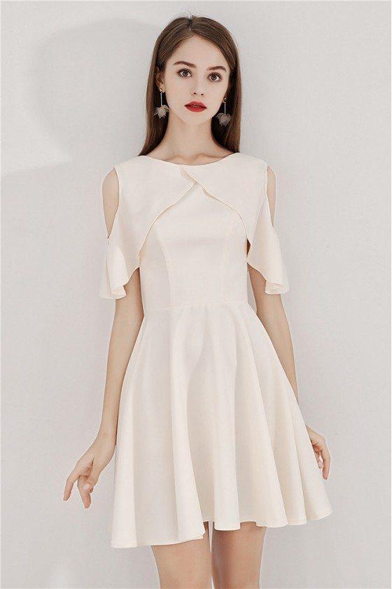 Light Champagne Short Flare Hoco Dress With Cold Shoulder