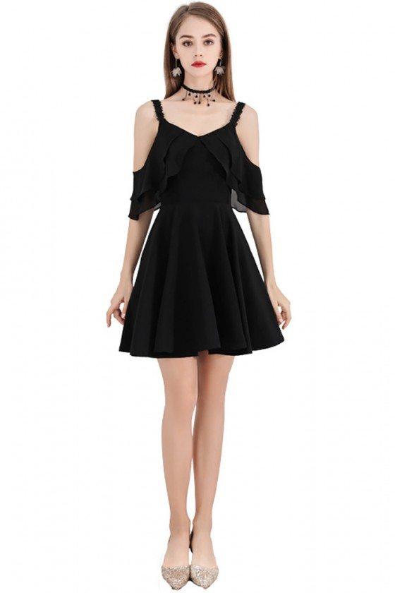 Little Black Chic Short Party Dress With Straps Cold Shoulder