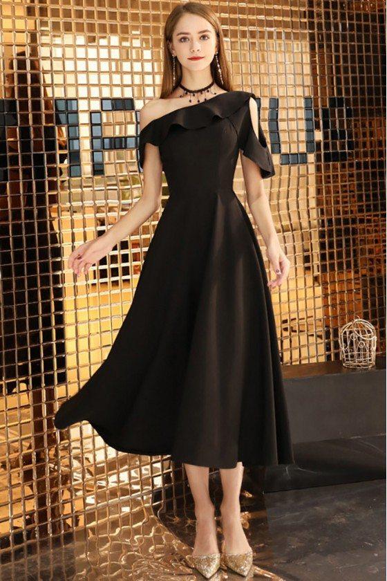 Chic Black Midi Dress Aline For Semi Formal