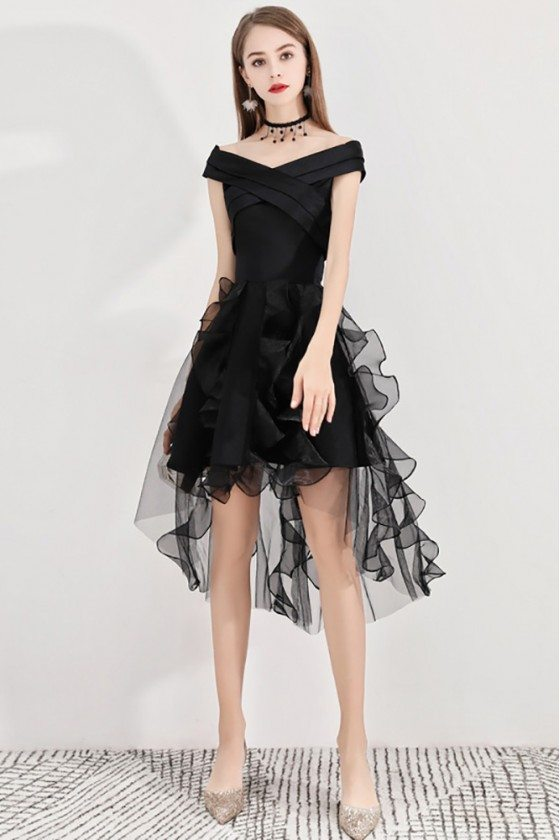 Black Puffy Short Party Dress High Low With Ruffles