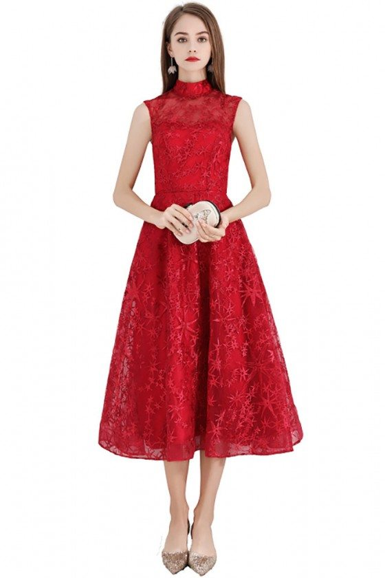 Red Flower Lace Midi Party Dress Sleeveless With High Neck