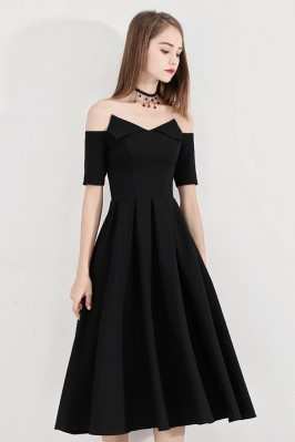 Black Chic Off Shouler Midi...