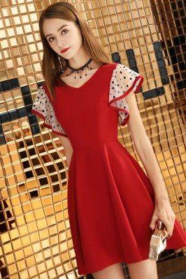 Cute Red Aline Short Dress...