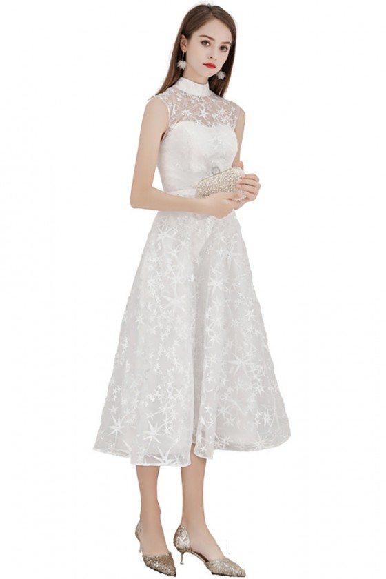 White Lace Aline Party Dress Elegant Midi Length Sleeveless