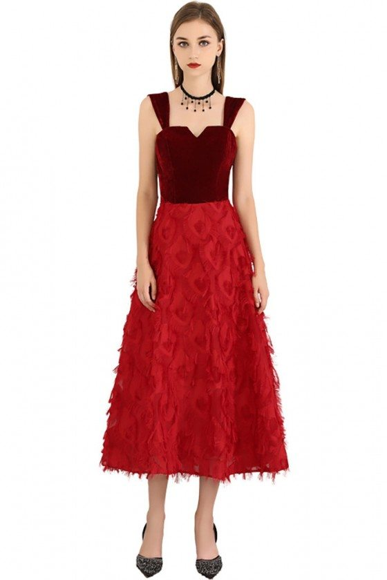 Two Tone Red Colors Midi Length Party Dress With Straps