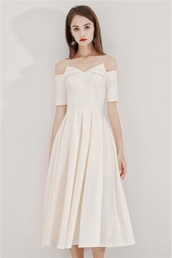 Light Champagne Midi Party Dress With Off Shoulder Sleeves