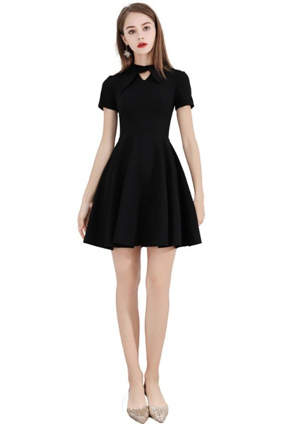 Little Black Short Party Dress With Short Sleeves