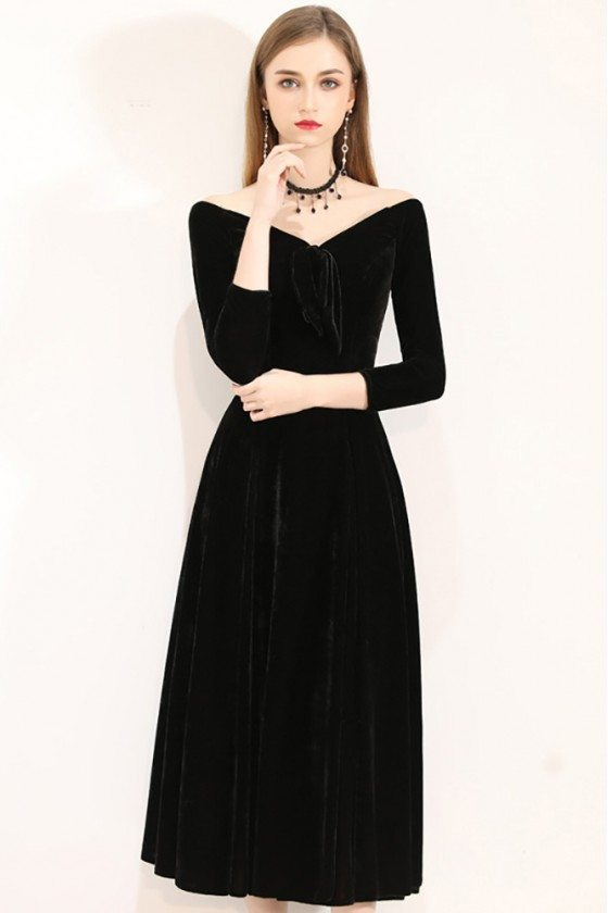Gorgeous Off Shoulder Midi Dress Vneck With 3/4 Sleeves