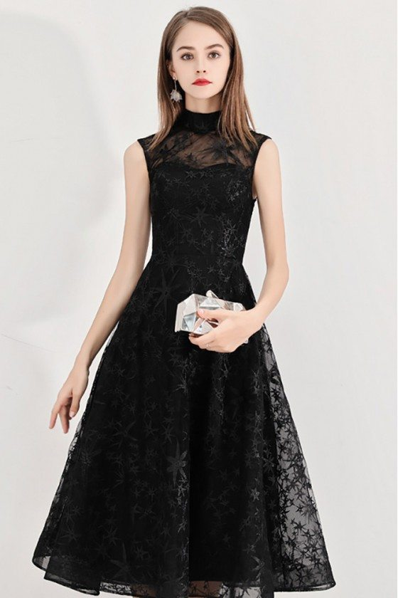 Retro Black Lace High Neck Midi Length Party Dress Sleeveless