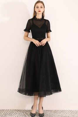 Retro Black Tulle Midi...
