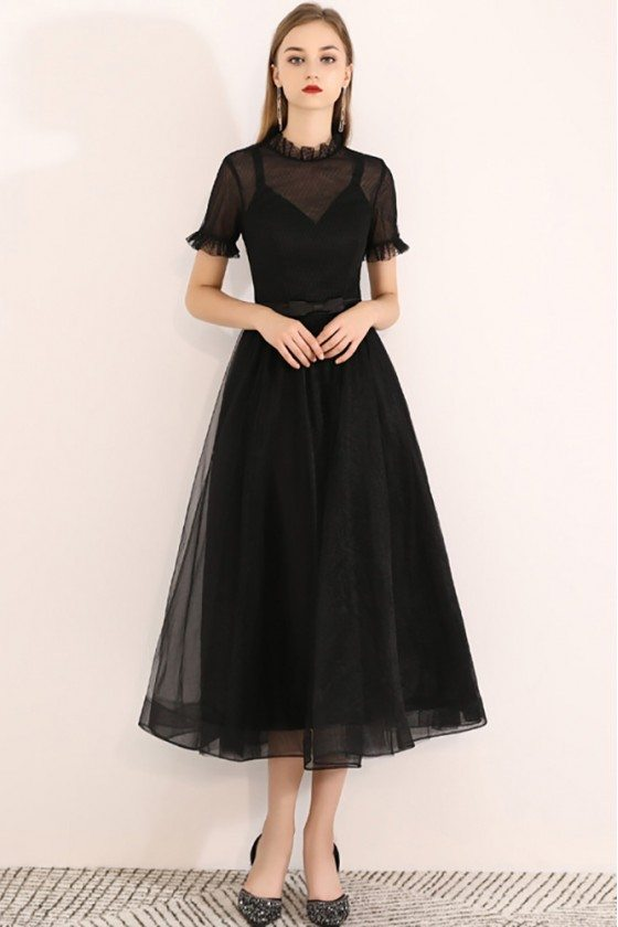 Retro Black Tulle Midi Party Dress With Short Sleeves