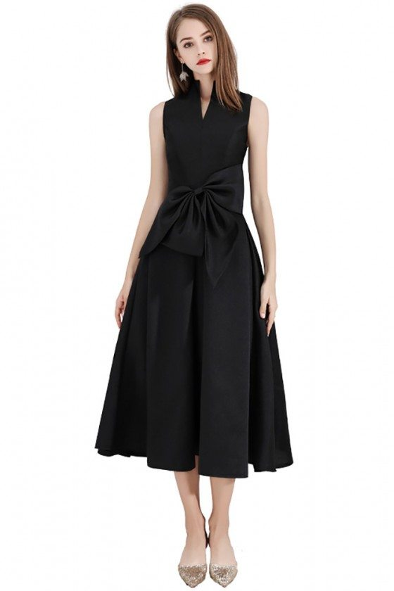 Vintage Chic Black Party Dress Tea Length With High Collar