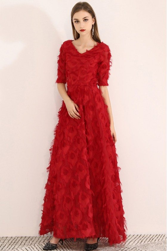 Long Red Special Feather Party Dress Vneck With Sleeves