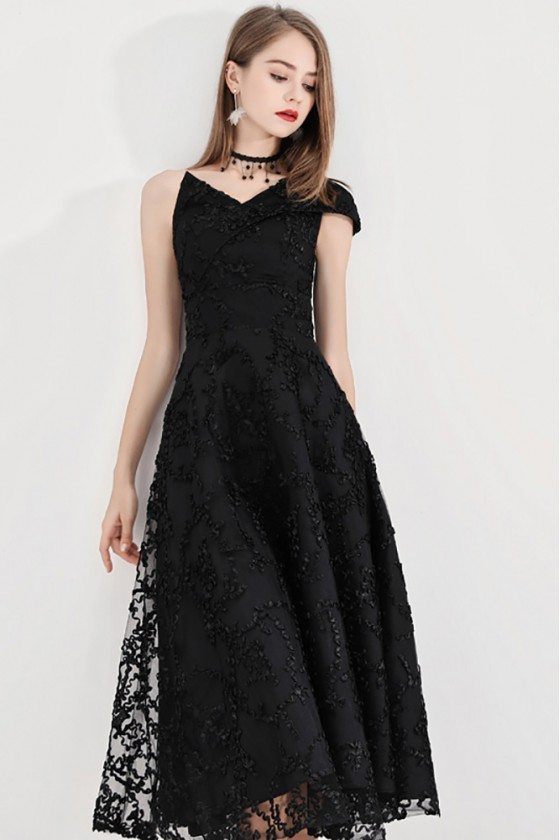 Black Lace Midi Party Dress With Special One Shoulder