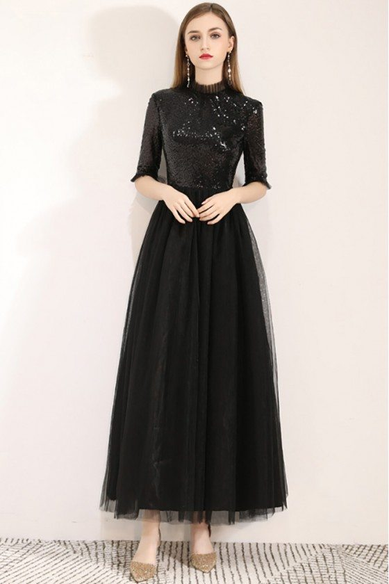 Sequins With Tulle Long Black Party Dress With Half Sleeves
