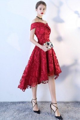 High Low Aline Red Lace...