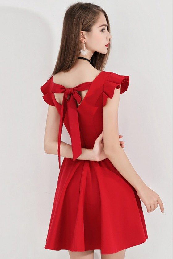 Little Red Flare Hoco Dress Short With Cap Sleeves