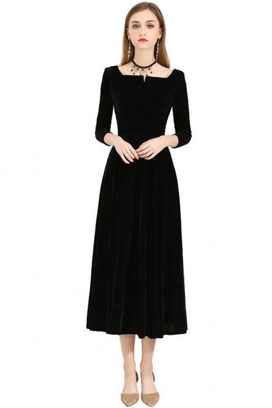 Vintage Simple Black Midi Dress With 3/4 Sleeves Square Neckline