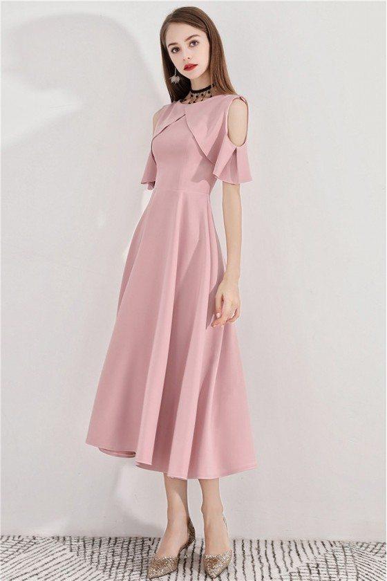 Pink Midi Length Semi Formal Party Dress Aline