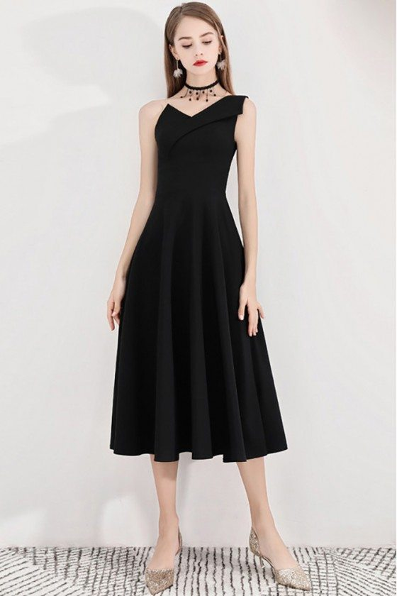 Black Retro One Shoulder Midi Party Dress Simple