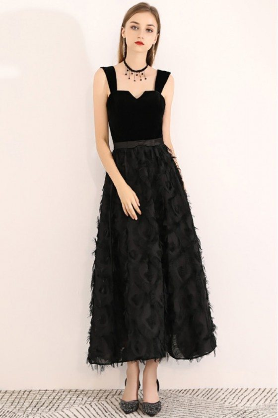 Black Ankle Length Chic Party Dress With Straps