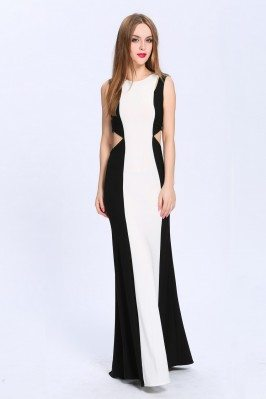 Black And White Cut-out V-back Long Dress
