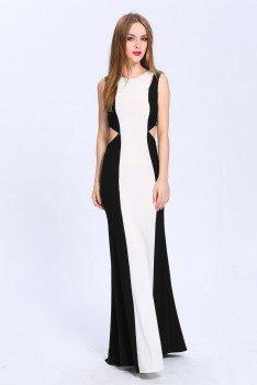 Black And White Cut-out V-back Long Dress