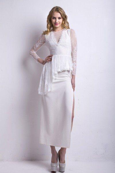 White V-neck Lace 3/4 Sleeve Party Dress