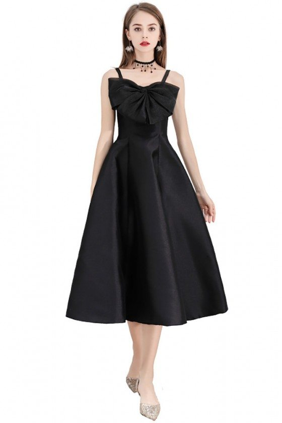 Black Midi Length Semi Party Dress With Big Bow Front