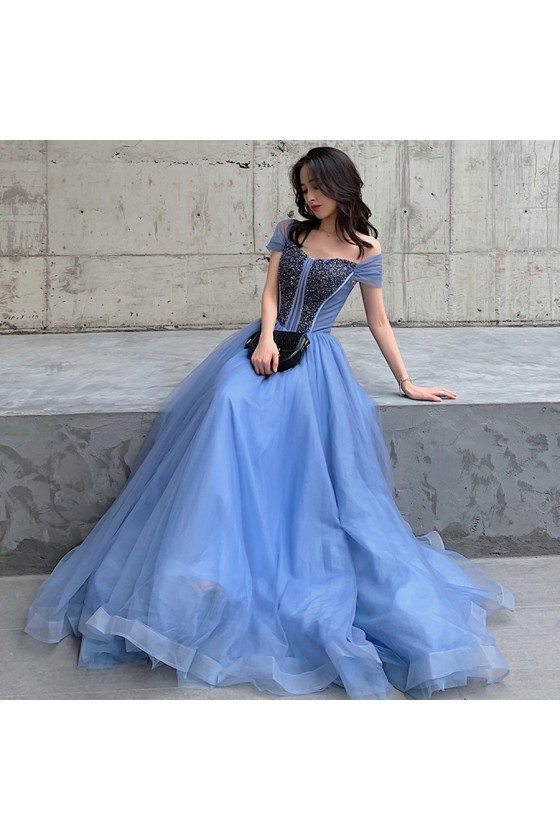 Blue Long Tulle Beaded Elegant Prom Dress With Cap Sleeves