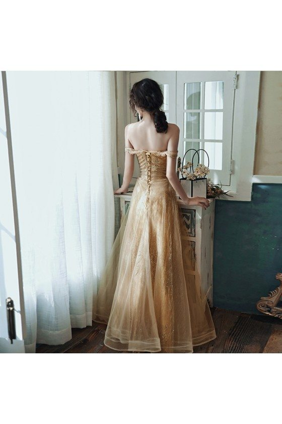 Sparkly Champagne Gold Aline Long Prom Dress For Formal
