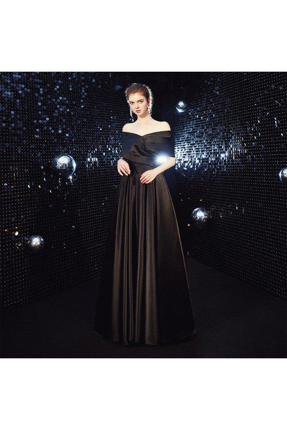 Simple Long Black Off Shoulder Evening Prom Dress For Less