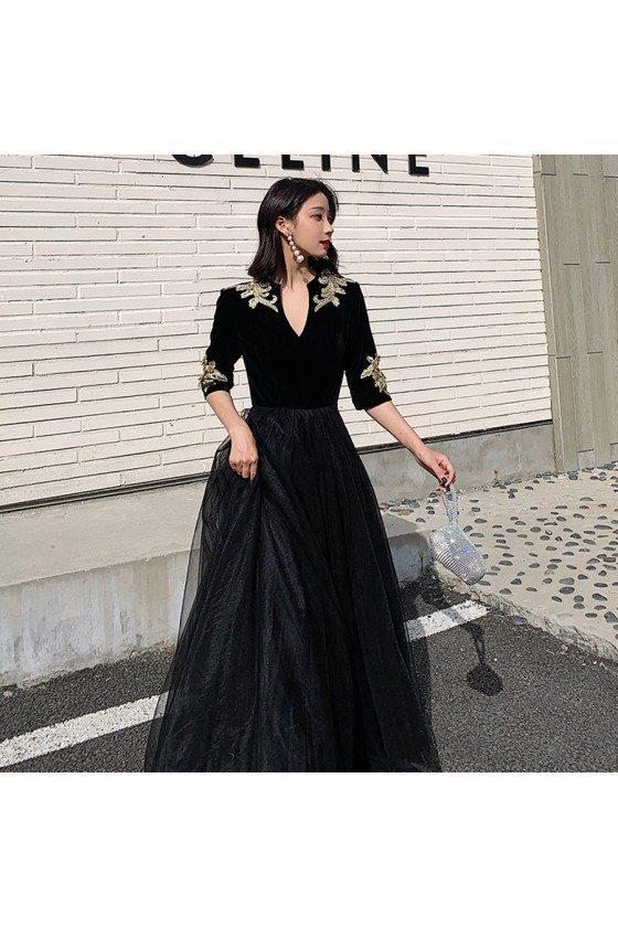 Noble Formal Long Black Evening Dress With Vneck Half Sleeves