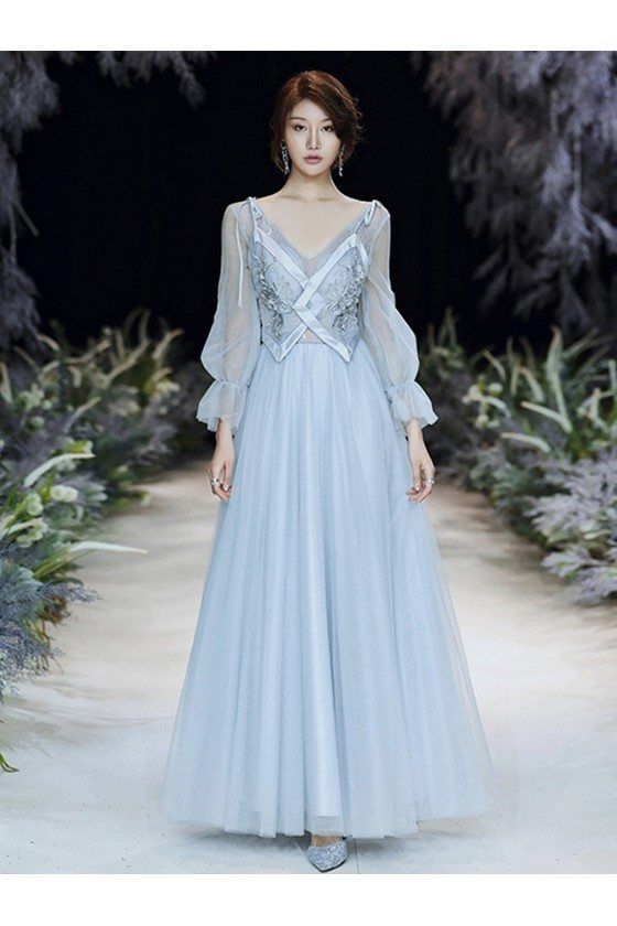 Blue Long Tulle Vneck Cheap Prom Dress With Sheer Long Sleeves