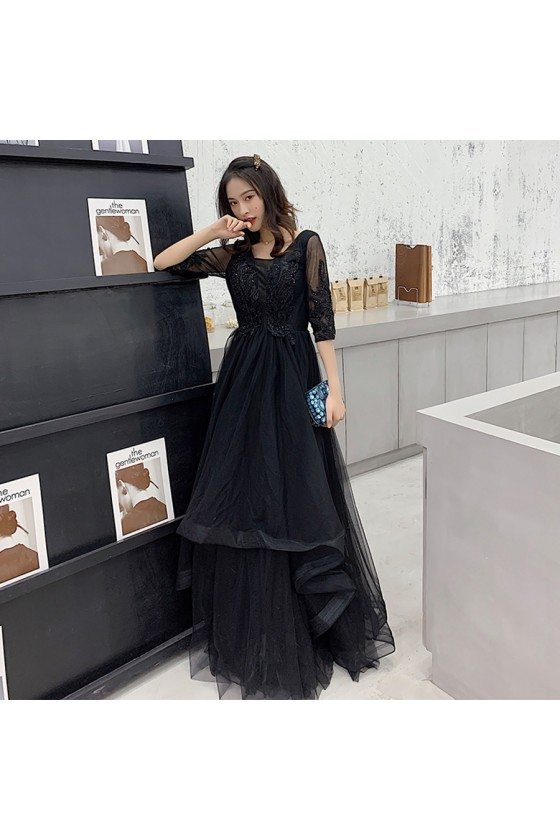 Black Tulle Long Cheap Prom Dress Modest With Sleeves