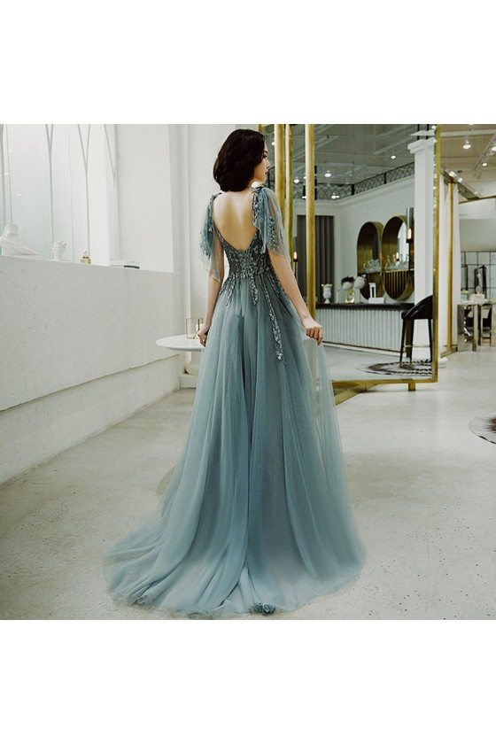 Dusty Green Long Tulle Open Back Prom Dress With Tulle Sleeves