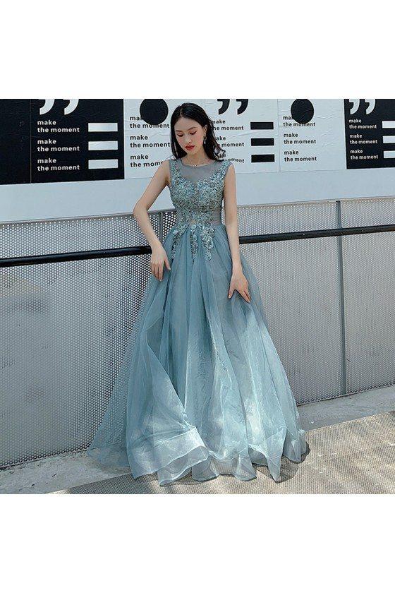 Mist Blue Long Tulle Beaded Lace Long Prom Dress Illusion Neckline