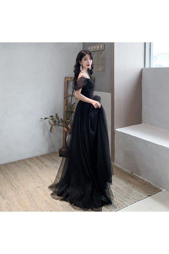 Elegant Sequin Tulle Long Black Formal Dress For Cheap