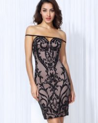 Black Flower Vines Sequins Sexy Bodycon Cocktai Party Dress LE99766