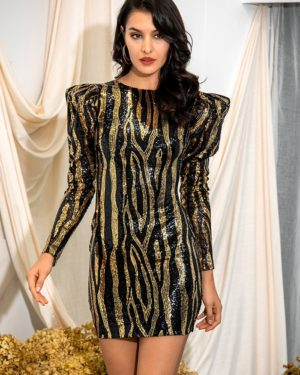 Black And Gold Open Back Bodycon Mini Party Dress With Bubble Long Sleeve LE98679