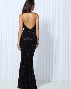 Black Elastic Sequin Vneck Formal Long Evening Party Dress With Open Back LE99791
