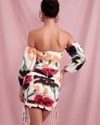 Cut Out Floral Print Lantern Sleeve Bodycon Mini Party Dress LE98464