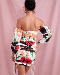 Cut Out Floral Print Lantern Sleeve Bodycon Mini Party Dress LE98464