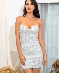Silver Sling Fringed Sequins Bodycon Mini Party Dress With Spaghetti Straps LE98667