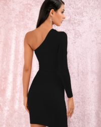 Sexy Little Black Single Sleeve Bodycon Mini Party Dress LE98733