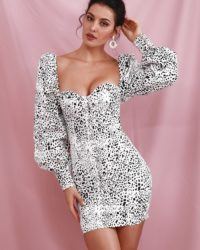White Leopard Bubble Long Sleeve Bodycon Party Dress LE98622