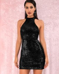 Mini Black Bling Sequins Halter Bodycon Party Dress LE98828
