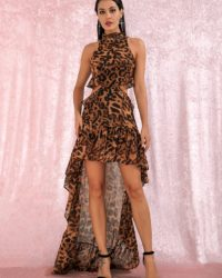 High Low Leopard Print Cut Out Chiffon Party Dress With Ruffles LE98730