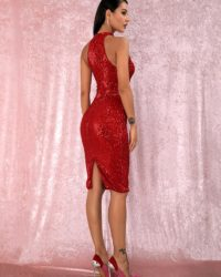 Red Halter Sequins Knee Length Party Dress LE98825