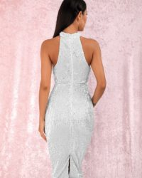 Classy White Halter Sequins Knee Length Party Dress LE98826